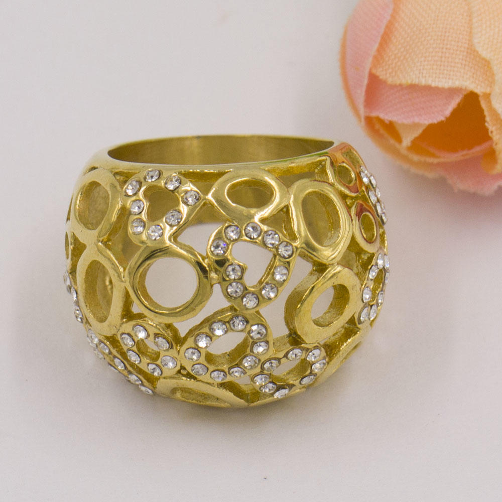 Hemisphere shape gold plating stainless steel ring for ladies