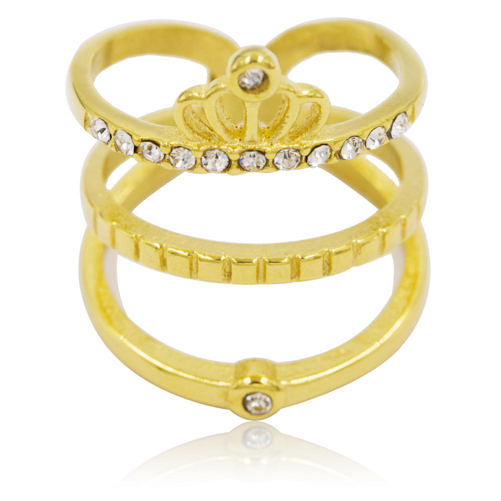 Crown style wholesale stainless steel custom diamond wedding gold women ring