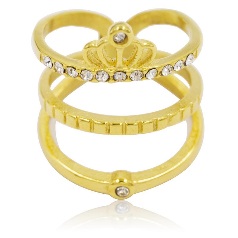 Crown style wholesale stainless steel custom diamond wedding gold women ring