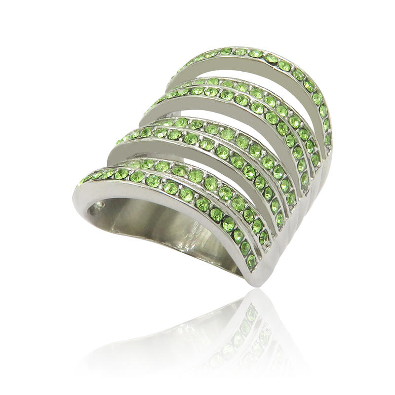 Women fashion new design bridal set ring with green stone