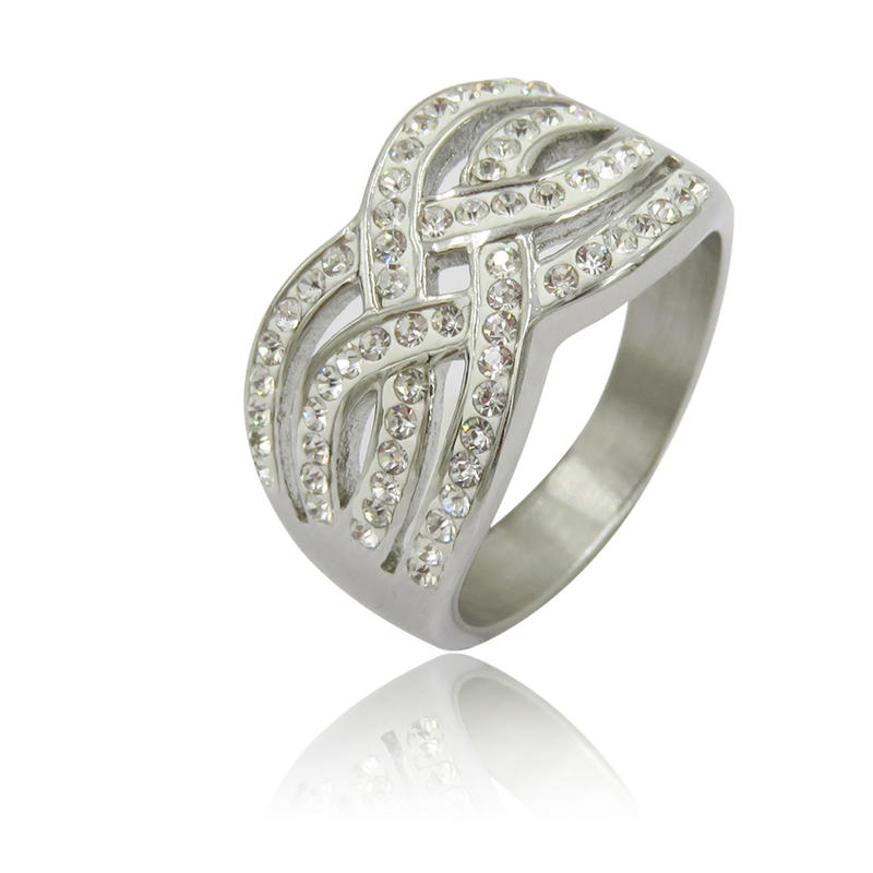 Wholesale women stainless steel fashion ring  with stone