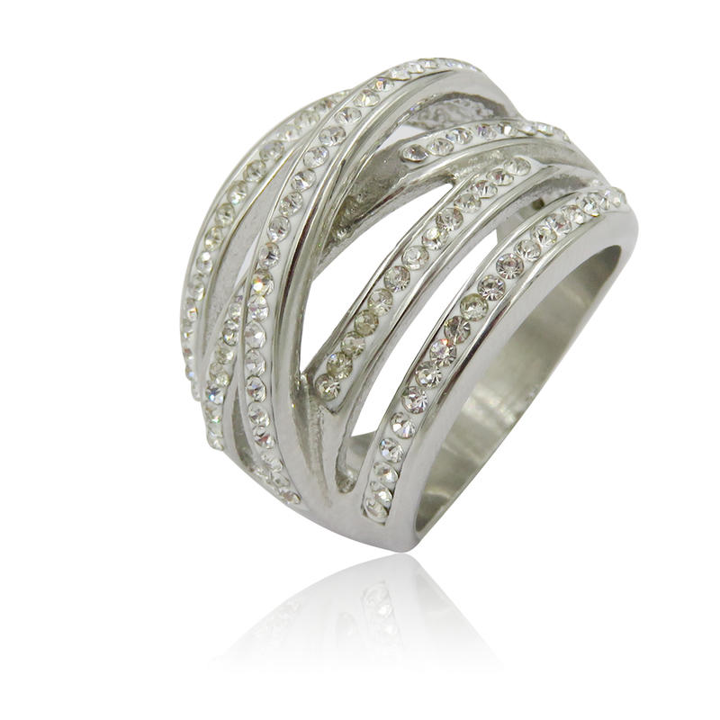 Low price new design steel ring with stone for women