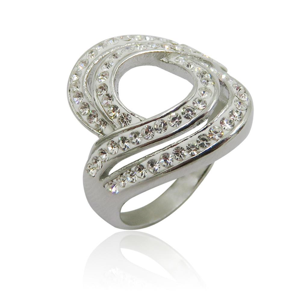 Lovely design steel fashion engagement stone ring for women