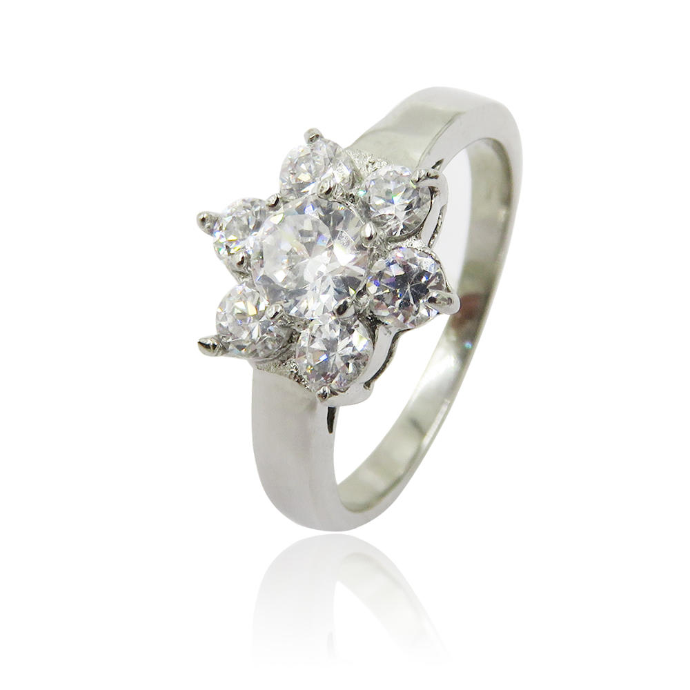Fashion flower diamond design engagement steel jewelry ring  for women