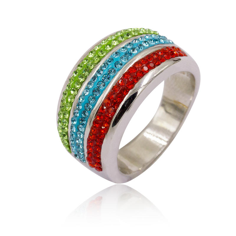 Stainless steel fashion design colorful stone finger ring for women