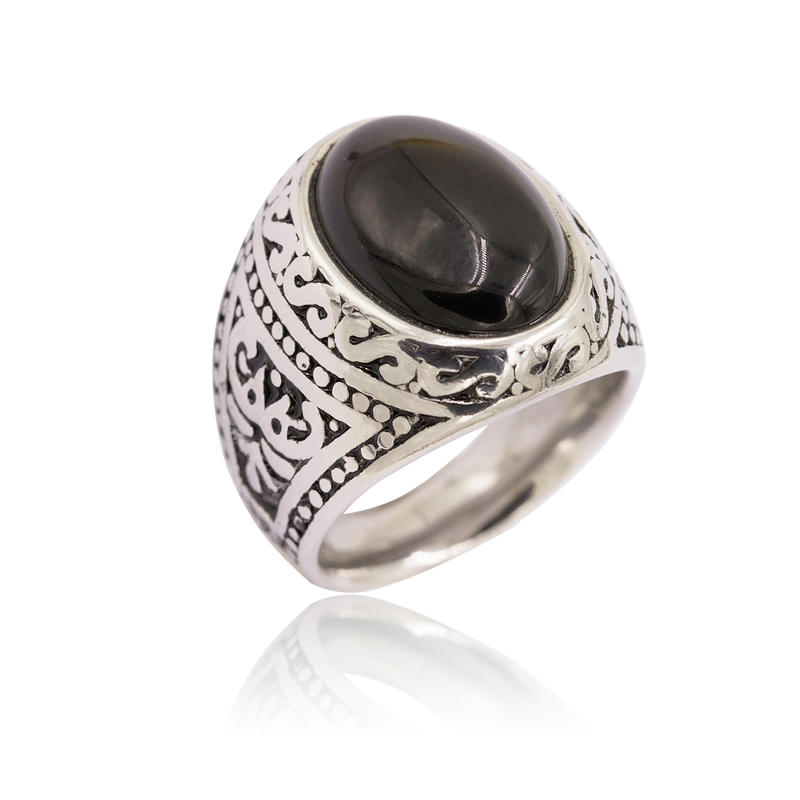 Low price steel men's ring with stone classic design