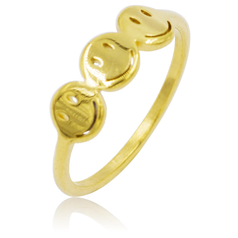 Gold color smile face stainless steel women ring for girls as gifts VD055186-360