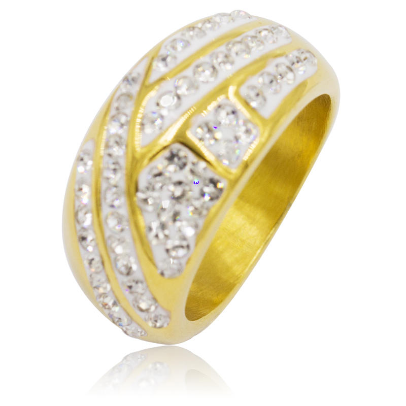 Gold latest gold women finger ring designs with crystal VD055188-360
