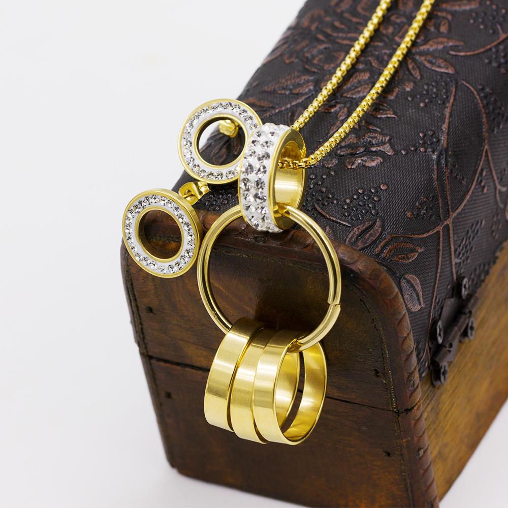 Circle interlocking necklace stainless steel set AW00256biib-371