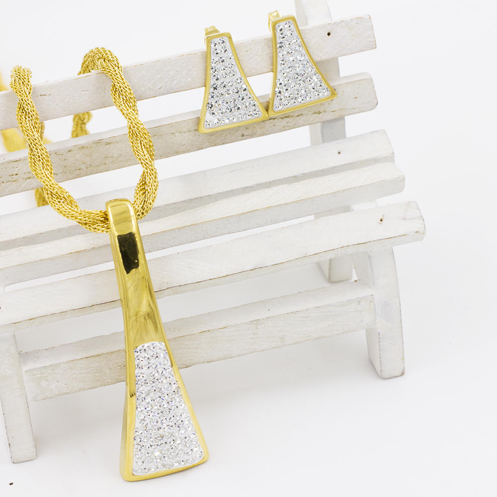 Triangle necklace zircon gold jewelry set in dubai AW00257aiov-371