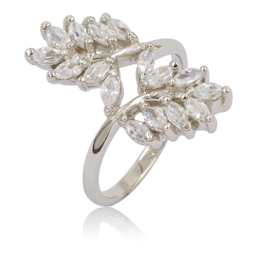 Bling Crystal Leaf Adjustable Rings Fashion Silver Ring For Women VD054026vvimk-M107