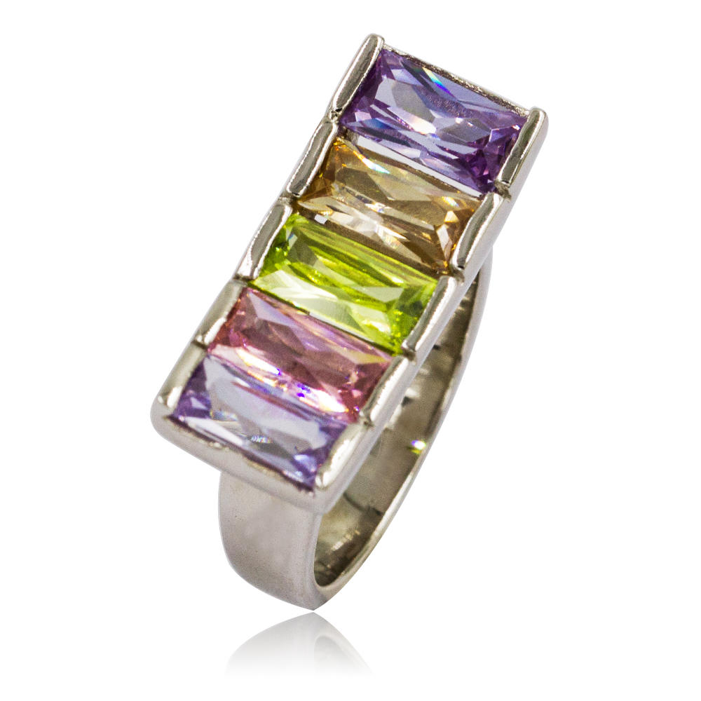 Classic Design Crystal Water drop Silver Color Wedding Ring VD054017vvimk-M107