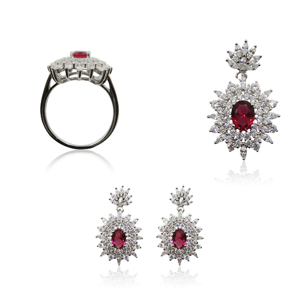 Wholesale Ruby Stone 925 Sterling Silver Beautiful Earrings+Pendant+Ring Jewelry Set R4265vvii-L20