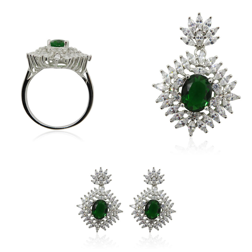 Green Gemstone Set 925 Sterling Silver Charming Earrings+Pendant+Ring Jewelry Set R4266vvij-L20