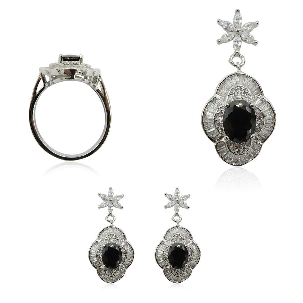 High Quality 925 Silver Women Earring Ring Black Stone Jewelry Set R4268vvio-L20