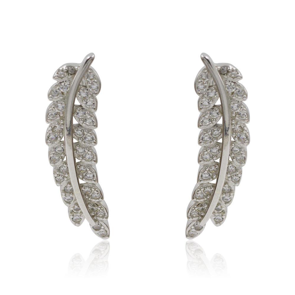 Crystal Dangle Helix Three Tassel Leaves Shaped Silver Sparkling Earrings Stud AS00053bbpp-M106