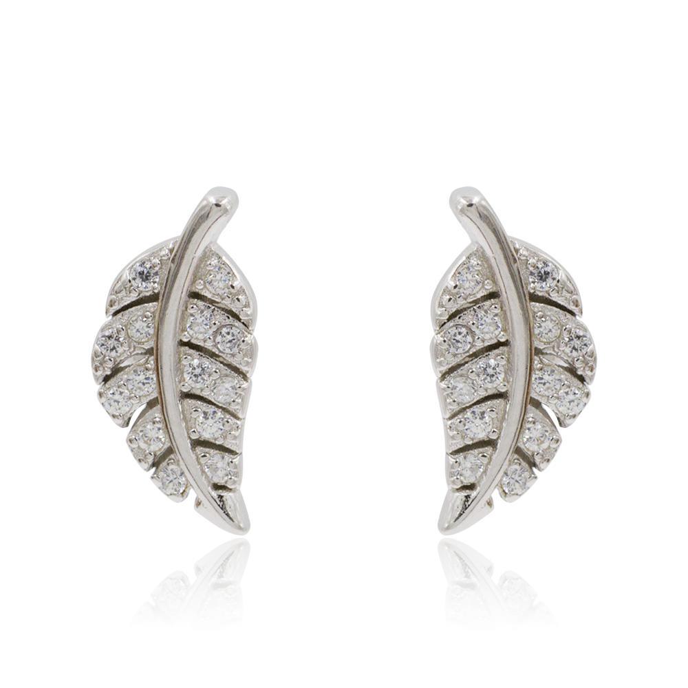 Online Drawing Images Shimmering Piercings Long Leaves Cute Stud Silver Earrings AS00054bbmo-M106