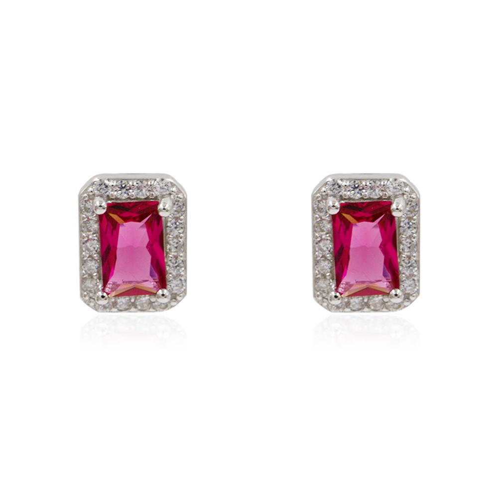 Ebay And Amazon Hotsale Red Stones Crystal 925 Silver Earrings AS00079bbno-M106