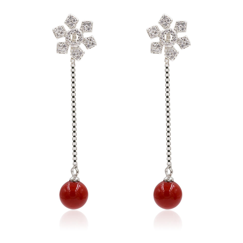Original Silver Plated Arrival 925 Silver Red Pearl Dangle Earrings AS00087vbnl-M106
