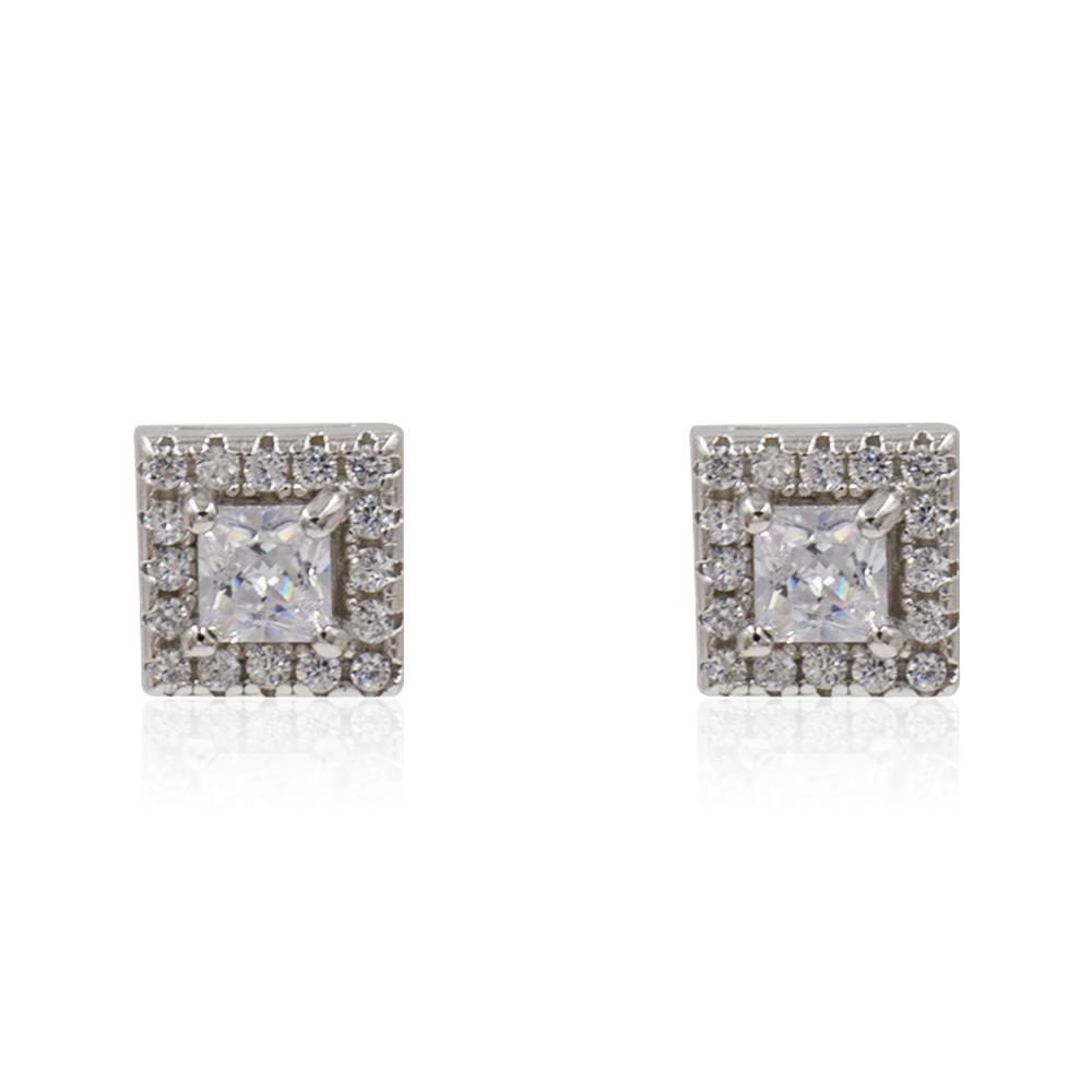 Square Crystal 925 Sterling Silver Women Earrings AS00075vbnl-M106