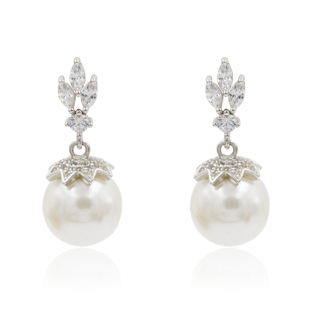 High Class 925 SIlver Dangle Earrings Pearl Earrings AS00085bhil-M106