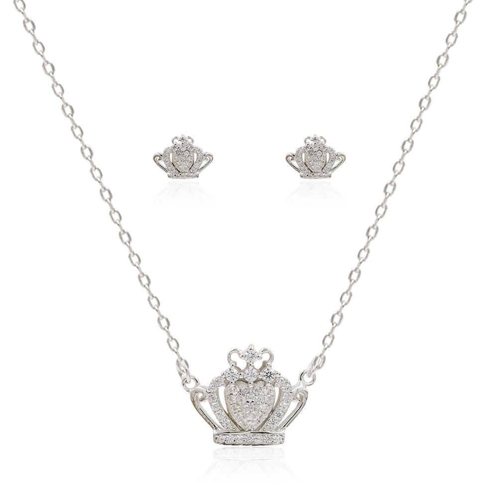 Competitive Price 925 Silver Crown Pendant Necklace In Sterling Silver AS00115vhmi-M106