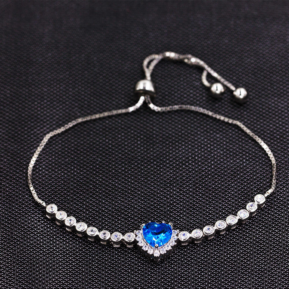 Amazon Wholesaler 925 Sterling Silver Bracelet With Blue Love Heart AS00031-L46