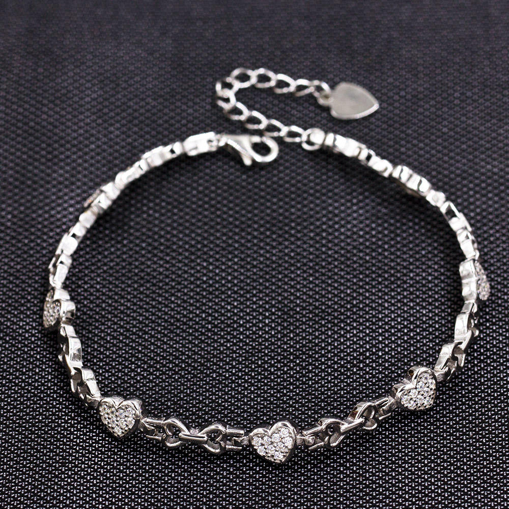 925 Sterling Silver Bracelet With Love Hearts AS00040-L46
