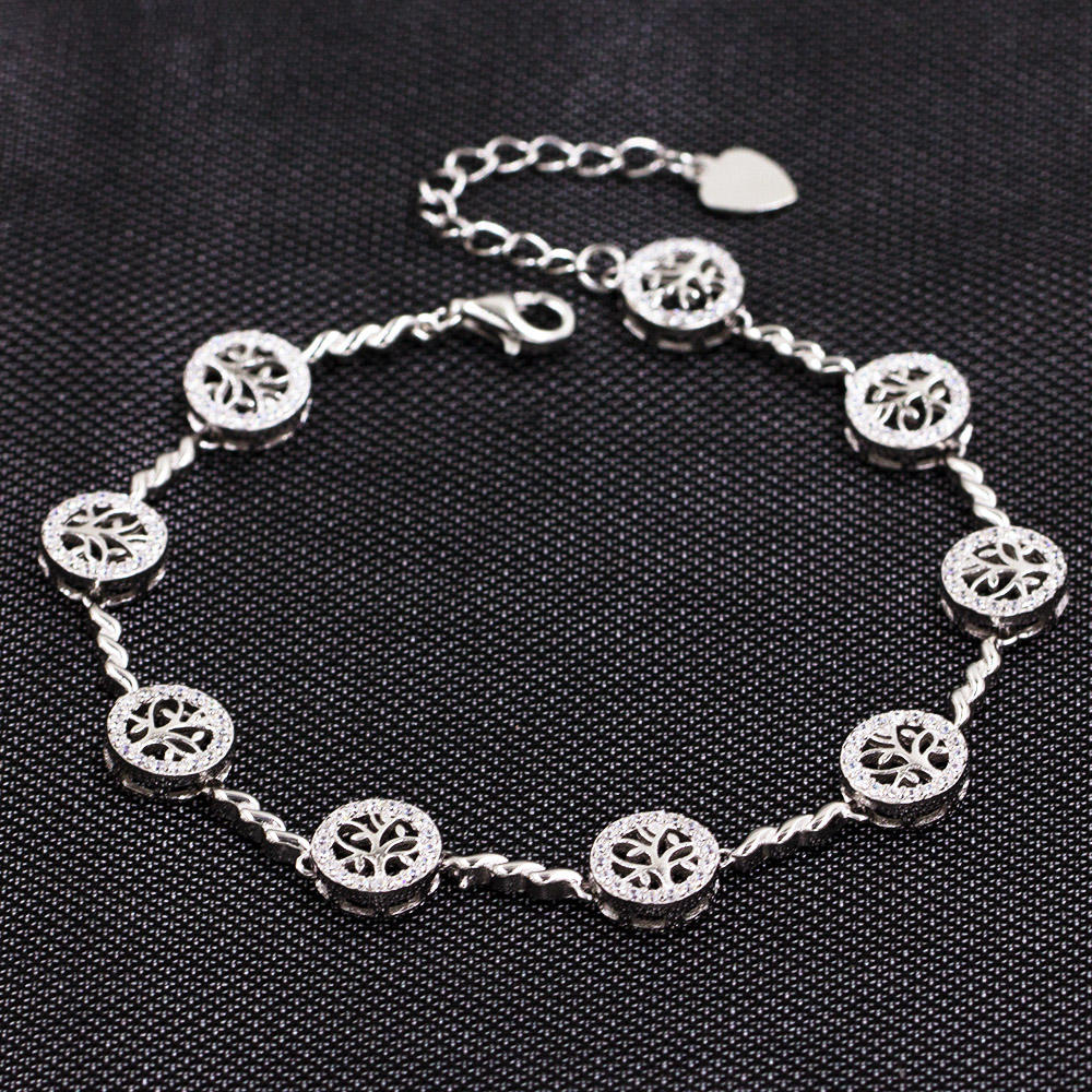 925 Sterling Silver Round Charms Bracelet