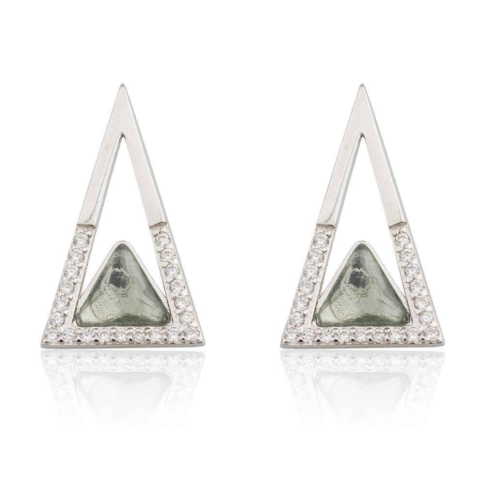 Fashion Jewelry AAA Cubic Zirconia 925 Sterling Silver Shiny Triangle Earring For Party AE20069-M112