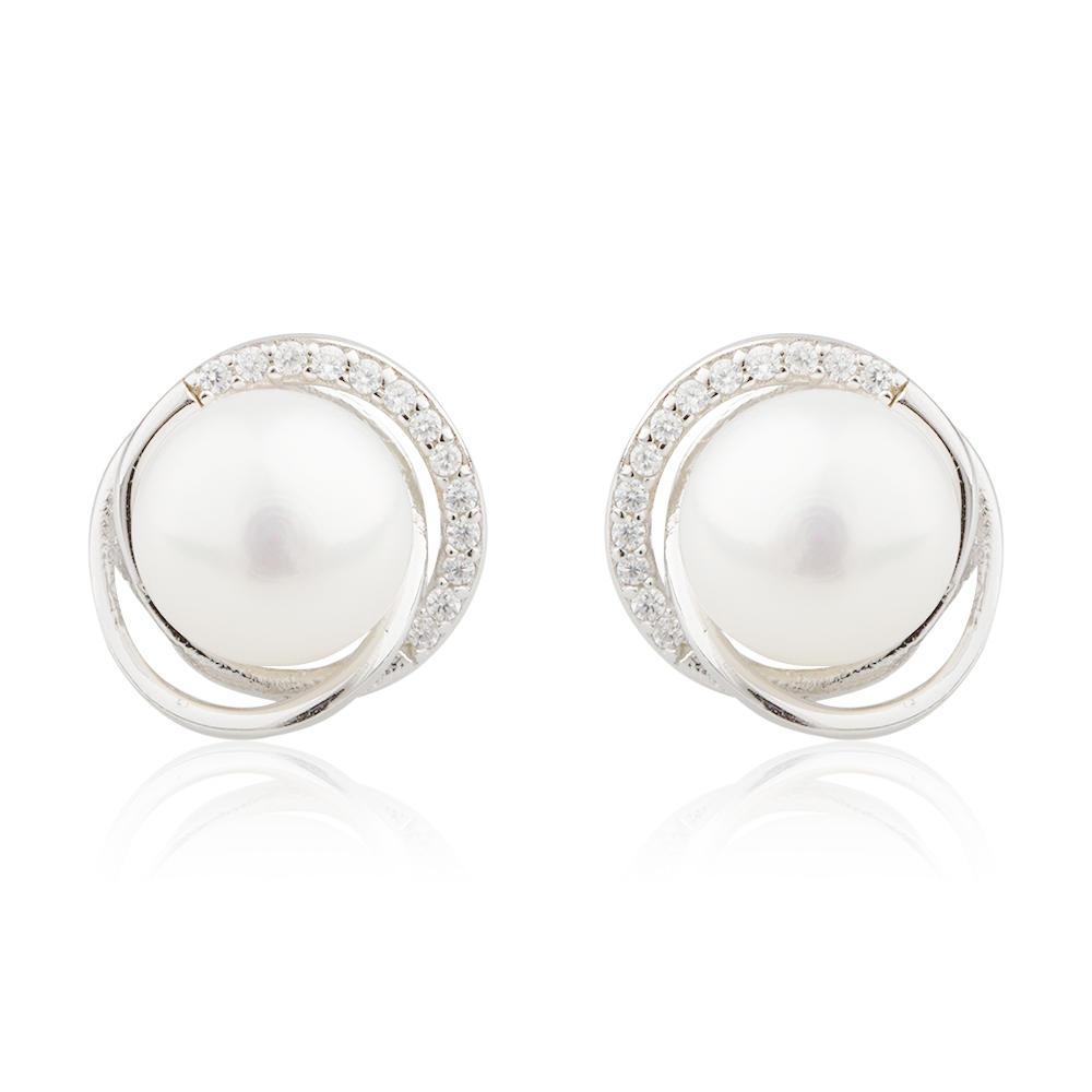 925 Silver Earrings Simple And Elegant Lady Hypoallergenic Sterling Silver Pearl Earrings AE30072-M112