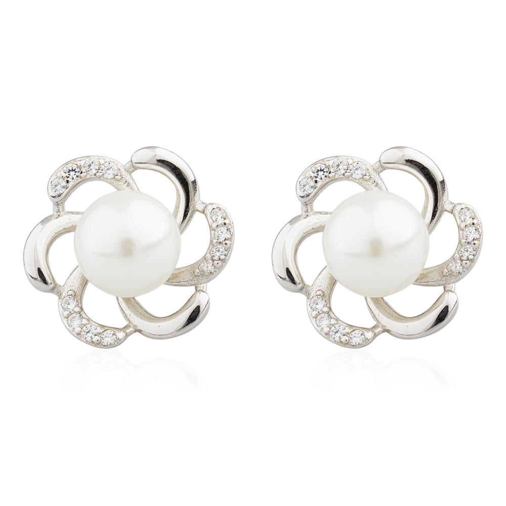 Wholesale 925 Sterling Silver Fresh Pearl Stud Earrings For Women AE30073-M112