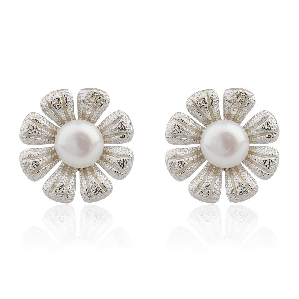 Wholesale Jewelry 925 Sterling Silver Stud Pearl Flower Earrings For Ladies AE30074-M112