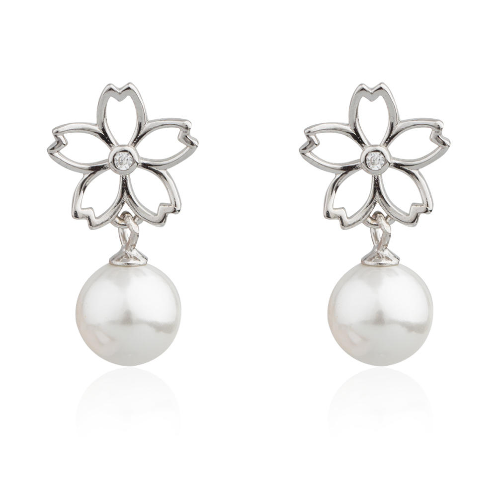 Delicate Hanging Long Silver Pearl Earrings With Flowers AE30075-M112