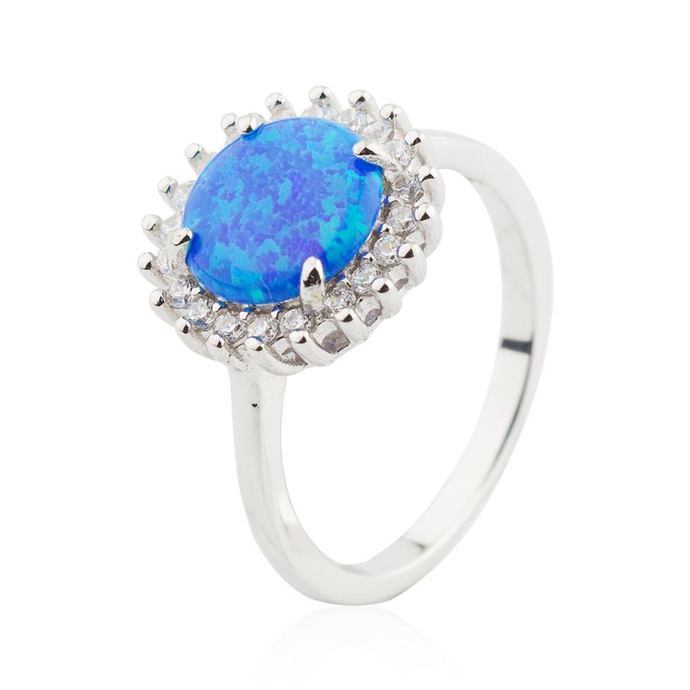 White Fire Opal Ring 925 Sterling Silver Zircon Rings Jusnova Silver