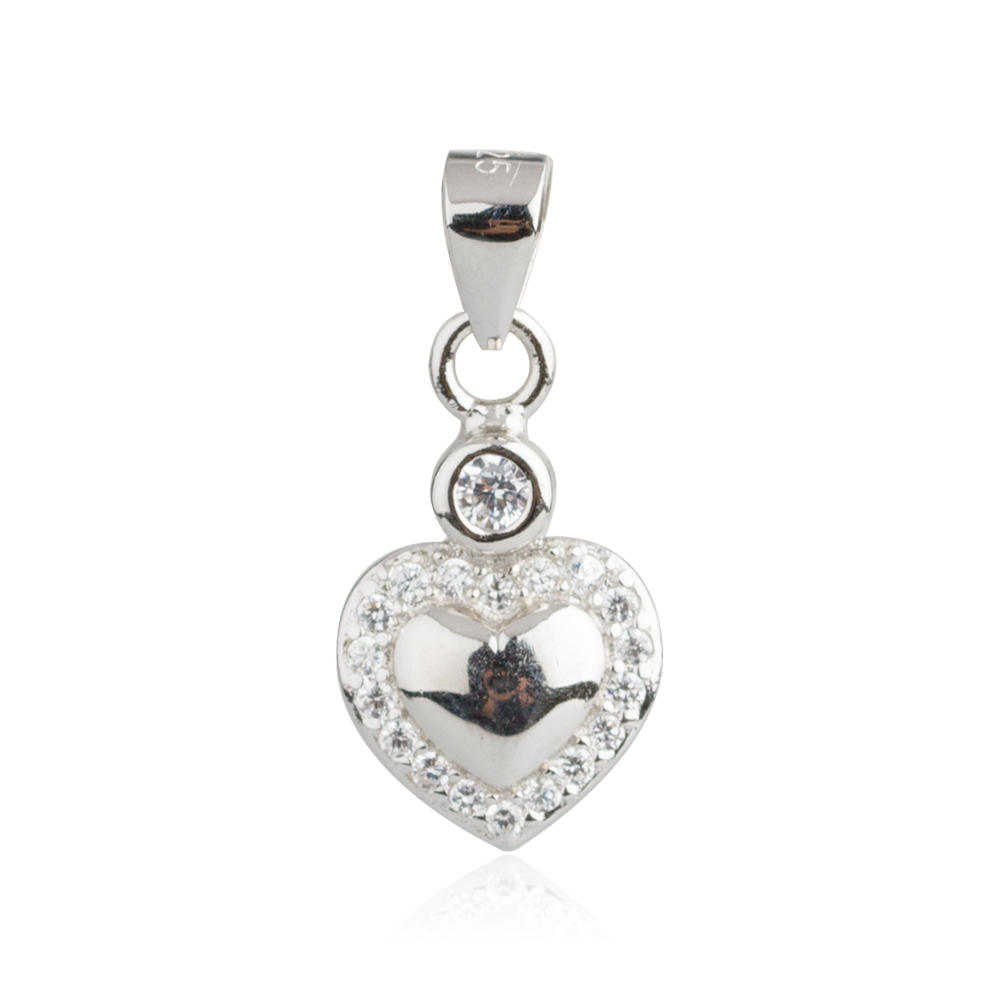 925 Sterling Silver Diamond Heart Pendant For Wedding AS004031-M112
