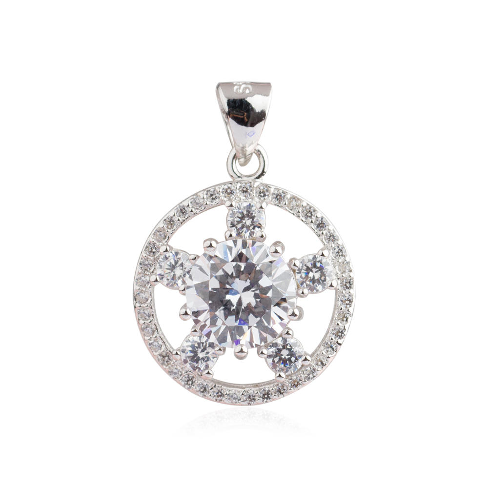 925 Sterling Silver Costume Jewelry Star Crystal Pendant AS004030-M112