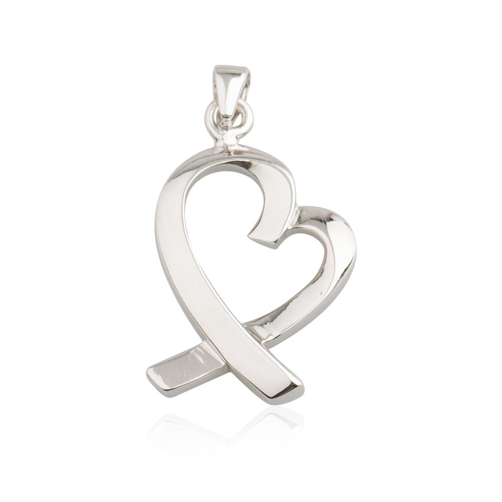 925 Sterling Silver Love Heart Simple Charm Pendant  For Lover AS004036-M112