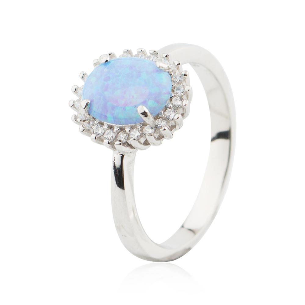 12MM CZ Stone Opal Rings 925 Sterling Silver Wholesale Designs Jusnova Silver AR60218
