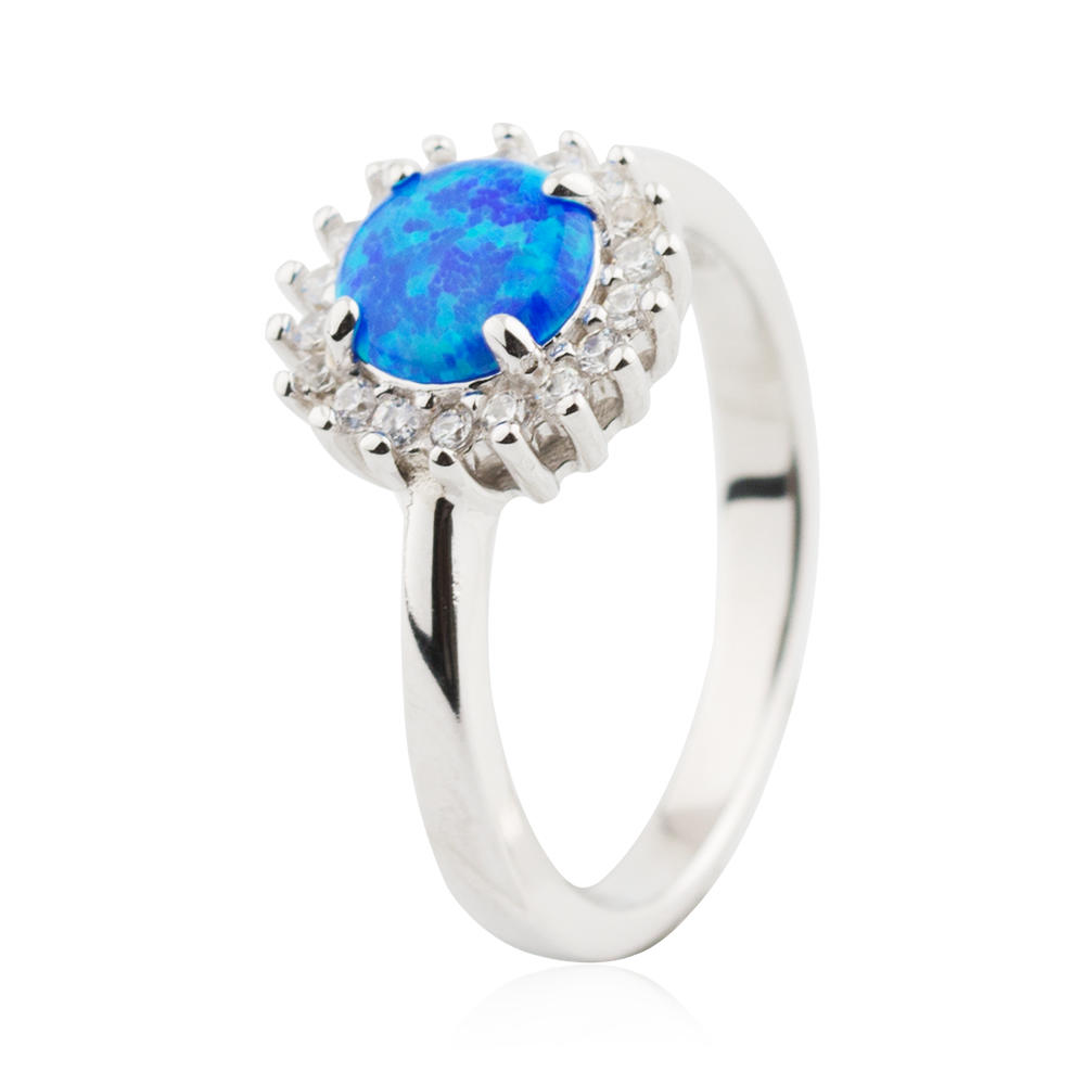 CZ Clover Round Shape Ring Opal Stone Crystal Rings 925 Sterling Silver Jusnova Silver AR60219