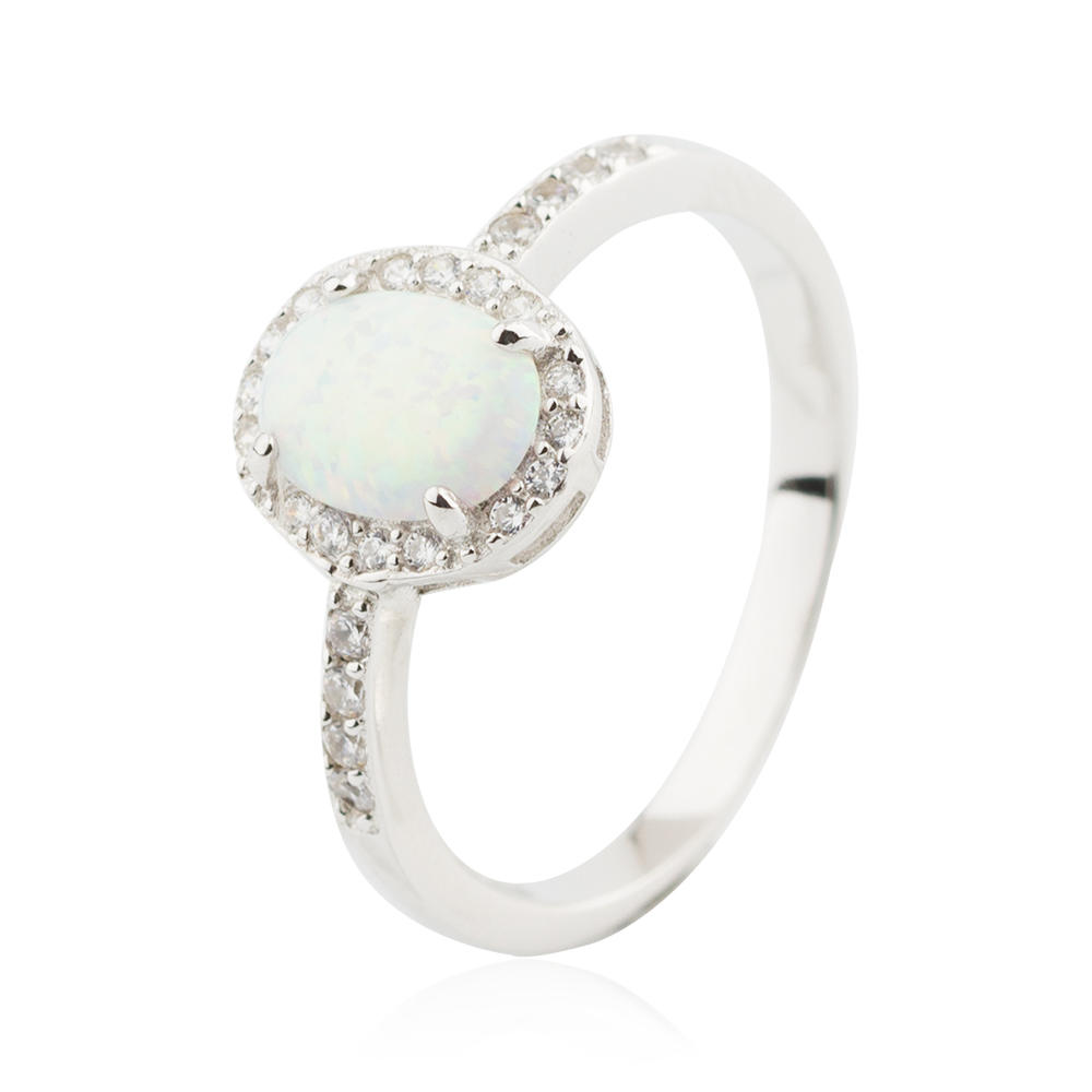 Oval Opal White Gold 10MM Ring 925 Sterling Silver Ring Jusnova Silver AR60220