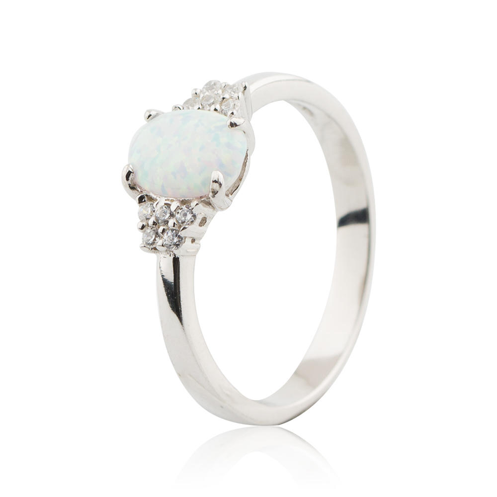 White Fire Opal Elegant Classic Wedding Engagement Ring Silver Ring 925 Sterling Silver Jusnova Silver AR60221
