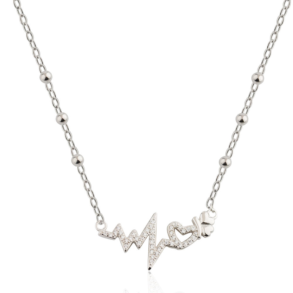 Silver Color Heartbeat Pendant Necklace From Jusnova Silver 925 Sterling Silver AN10184
