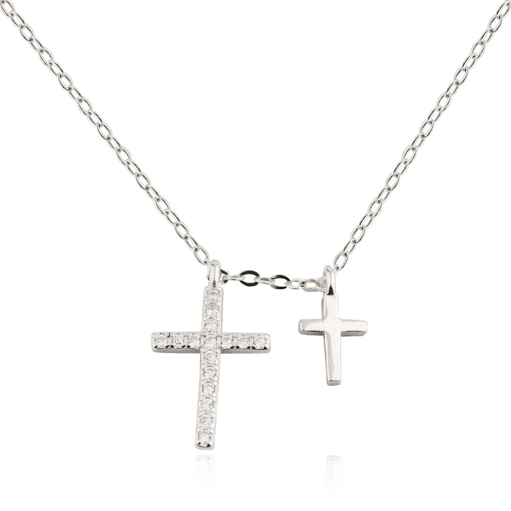 Silver Jewelry Girl Couple Cross Fashion Necklace 925 Sterling Silver Jusnova Silver AN10188