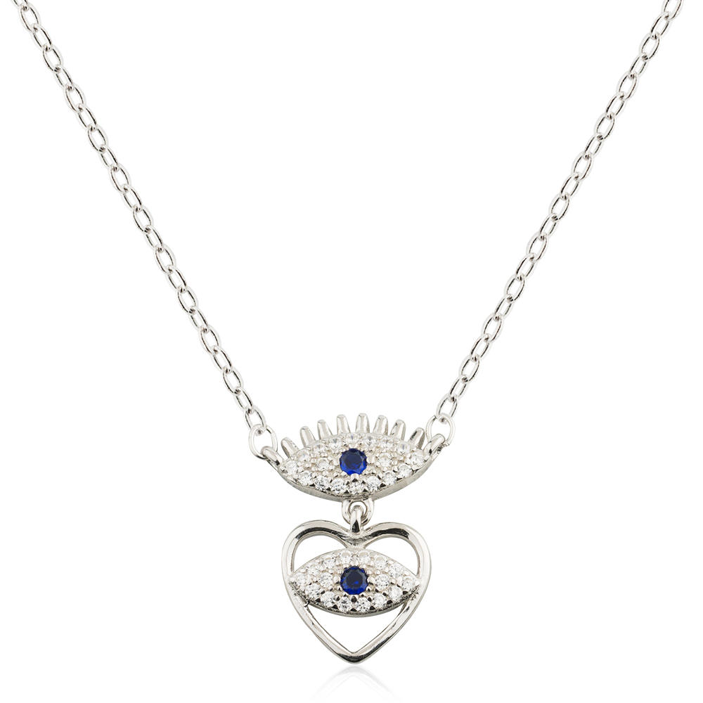 Turkish Jewelry Crystal Evil Eyes Heart Necklace 925 Sterling Silver Fashion Designs Jusnova Silver AN10197
