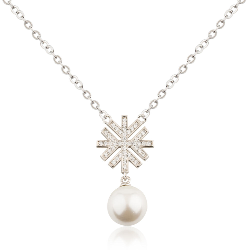 Shell Pearl Necklace 925 Sterling Silver Snowflake Jusnova Silver AN30357