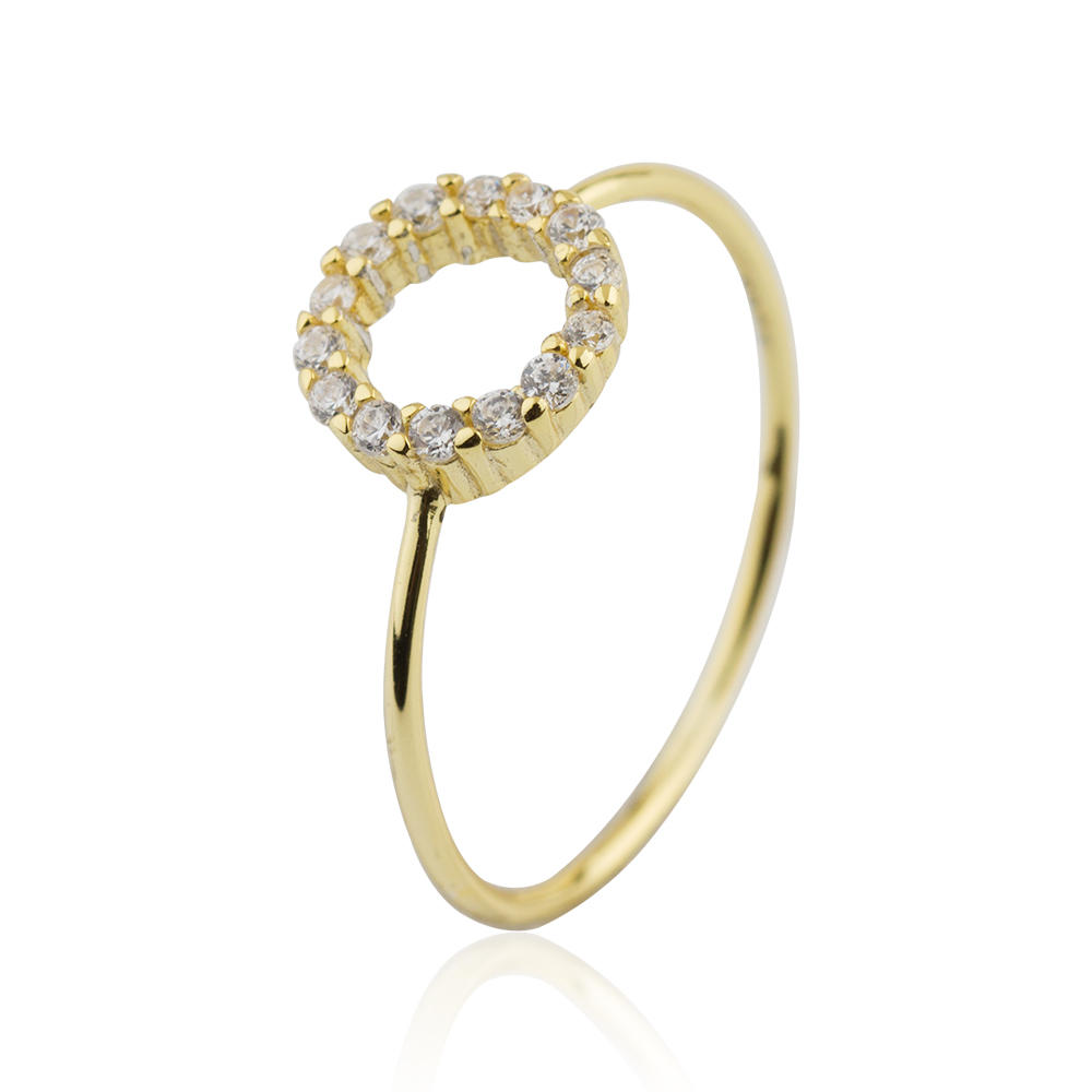 Gold Plated Crystal Circle Ring 925 Sterling Silver Jusnova Silver AR10296-M113