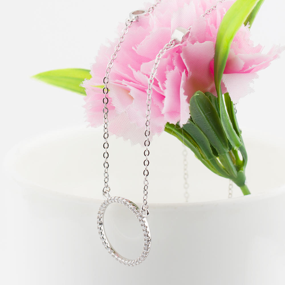 real pear simple silver necklace heart for female