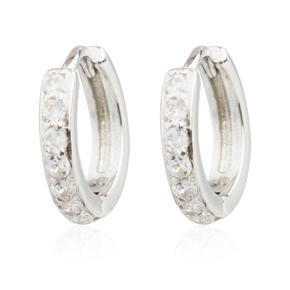 Custom Diamond Earring 925 Sterling Silver Wide Hoop Jusnova Silver AE10038