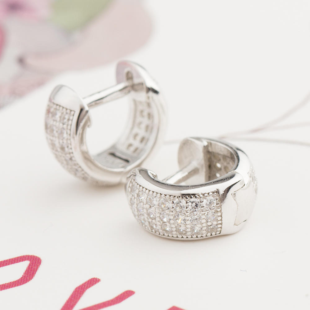 Pave Diamond Earring 925 Sterling Silver 10 mm Hoop Jusnova Silver AE10039